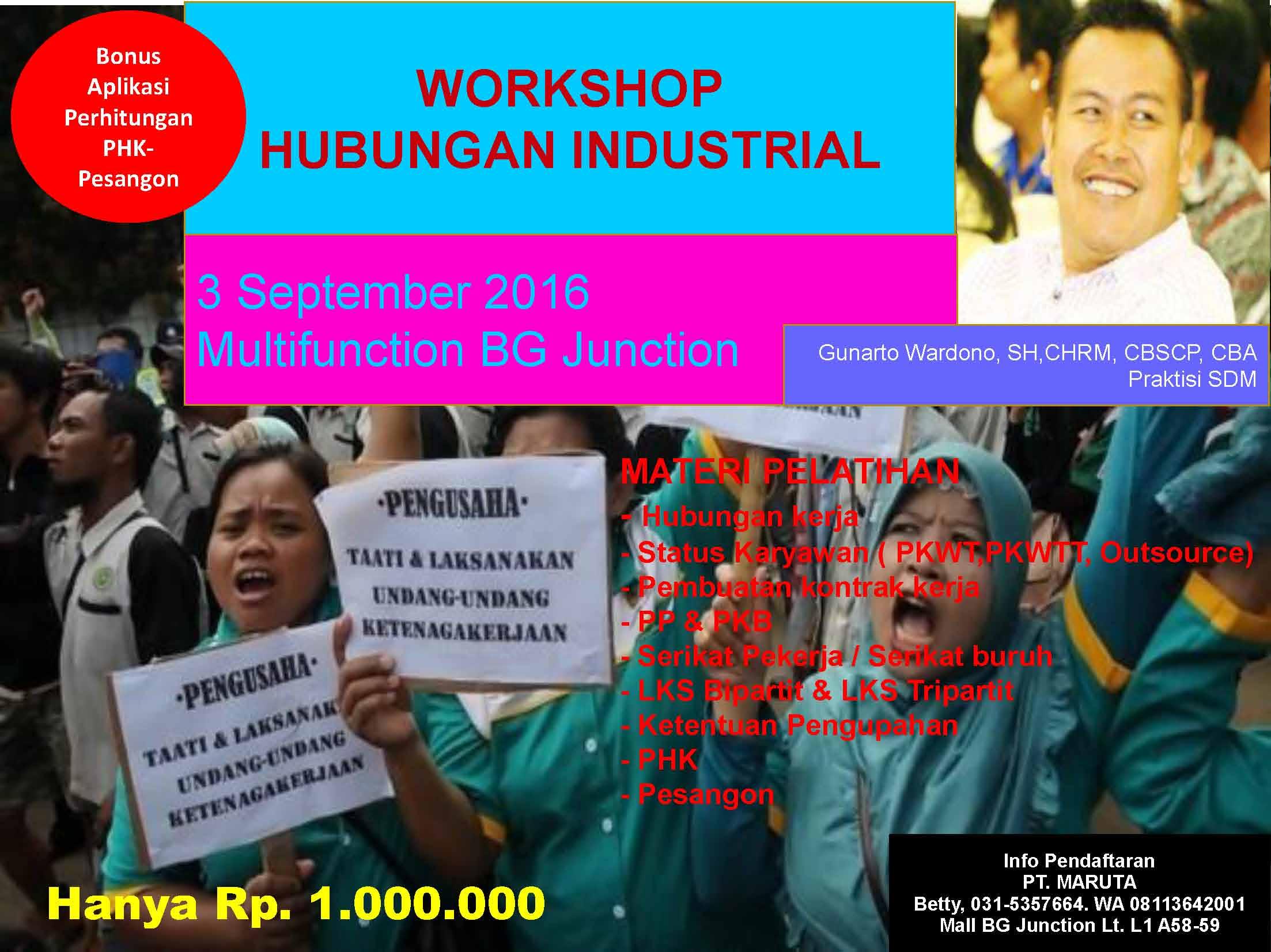 Workshop Hubungan Industrial 3 sept 2016